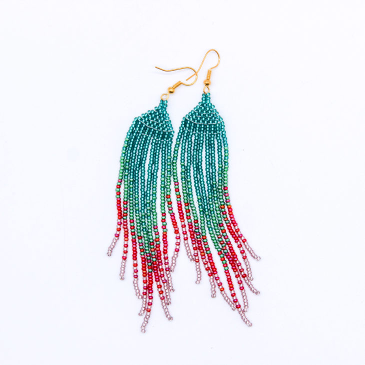 tassel earrings teal