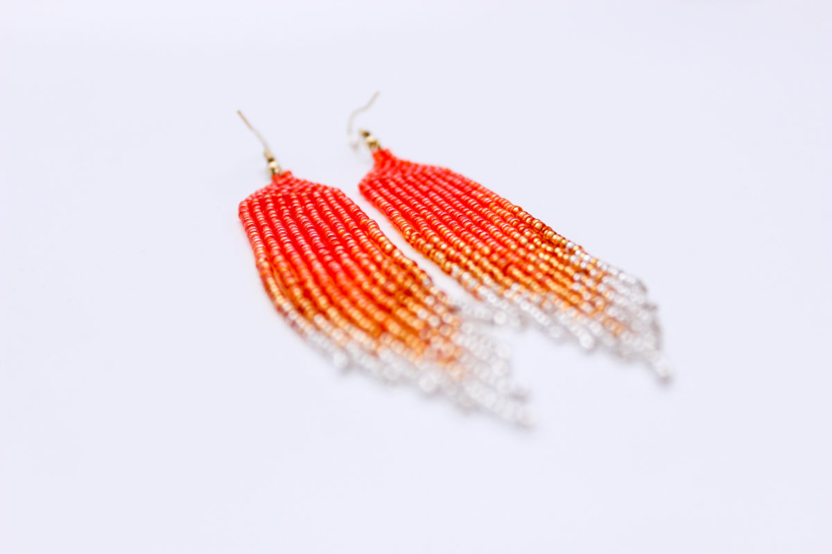 tassel earrings orange