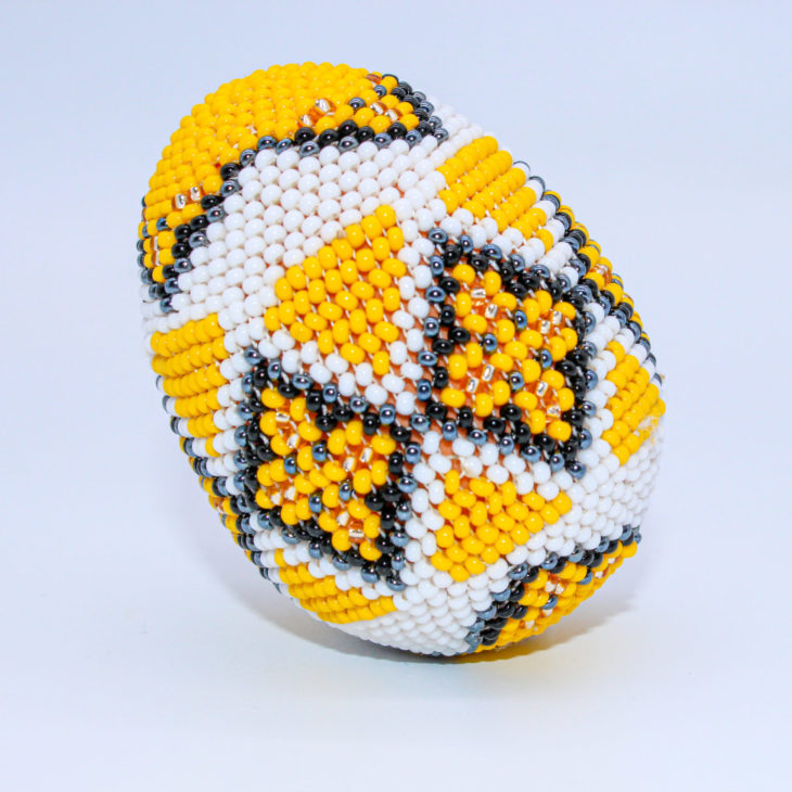 beaded egg yellow